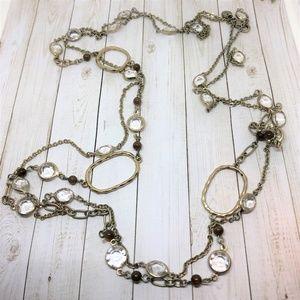 "Anne Taylor Loft Gold tone 72"" chain acrylic"